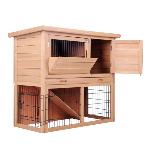 Rabbit Hutch Chicken Coop Cage Guinea Pig Ferret House w/ 2 Storeys Run - Pet Care - A&B Mart Australia - 1