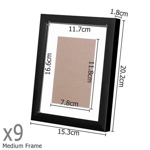 23 pcs Photo Frames Set Wall Black - Home Decoration - ANB Mart