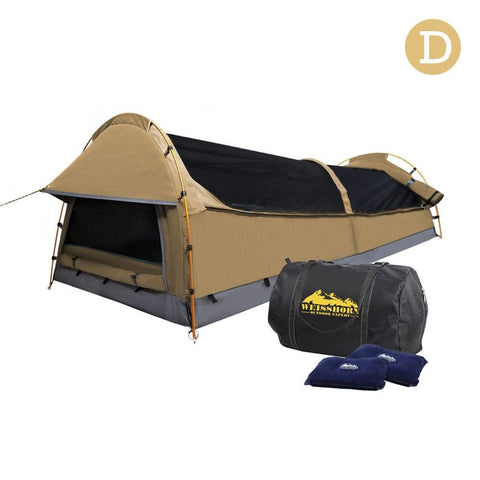 Double Camping Canvas Swag Tent Beige w/ Air Pillow - Camping & Hiking - ANB Mart