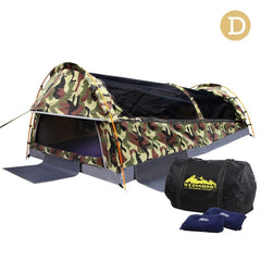 Double Camping Canvas Swag Tent Green Camouflage w/ Bag | Buy Camping & Hiking Products Online With the Best Deals at Anbmart.com.au!