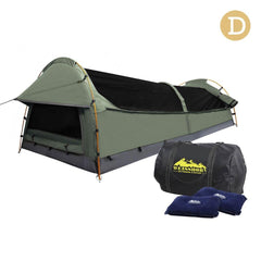 Double Camping Canvas Swag Tent Celadon w/ Air Pillow | Buy Camping & Hiking Products Online With the Best Deals at Anbmart.com.au!