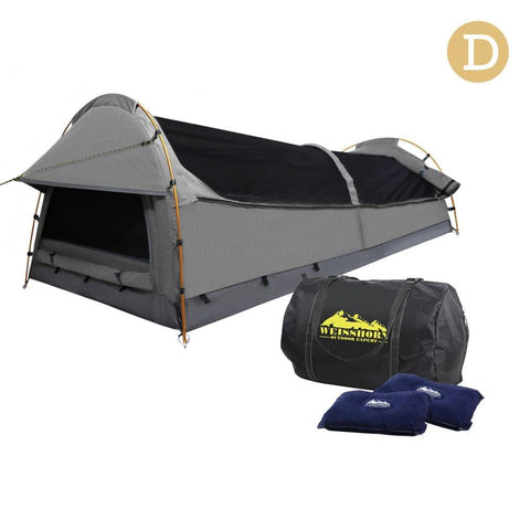 Double Camping Canvas Swag Tent Grey w/ Air Pillow - Camping & Hiking - ANB Mart