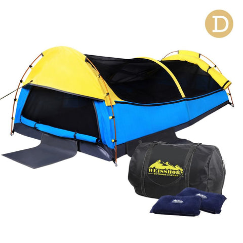 Double Canvas Camping Swag Tent w/ Bag Yellow & Blue - Camping - A&B Mart Australia - 1