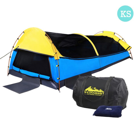 Deluxe King Single Swag Camping Swag Yellow & Blue - Camping - A&B Mart Australia - 1