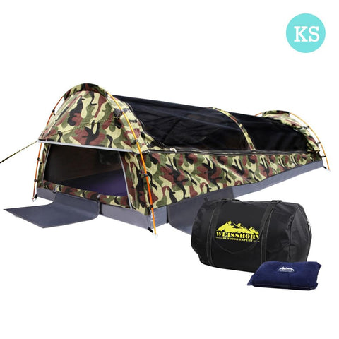 King Single Camping Canvas Swag Tent Green Camouflage w/ Bag - Camping - A&B Mart Australia - 1