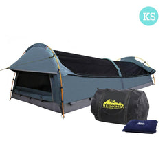 King Single Camping Canvas Swag Tent Navy w/ Air Pillow | Buy Camping & Hiking Products Online With the Best Deals at Anbmart.com.au!