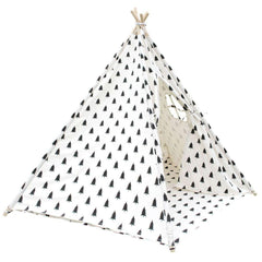 5 Poles Teepee Tent w/ Storage Bag Black White | Buy Kids Games & Toys Products Online With the Best Deals at Anbmart.com.au!
