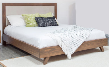 Soho Caramel Pine Upholstered Platform Bed - MJM Furniture