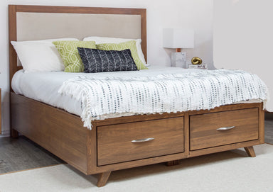Brandon Caramel Pine Upholstered Storage Bed - MJM Furniture