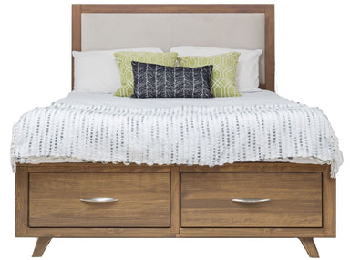Soho Caramel Pine Upholstered Storage Bed - MJM Furniture