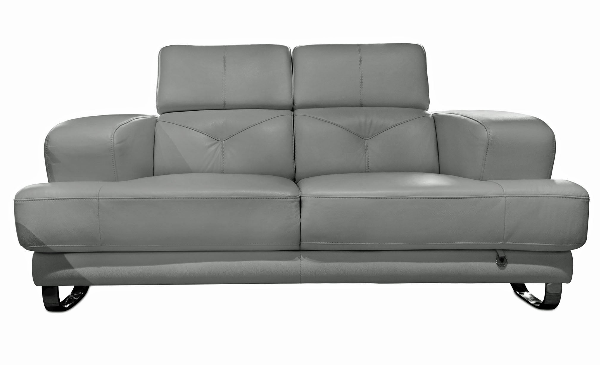 Broadway Gray Leather Loveseat - MJM Furniture