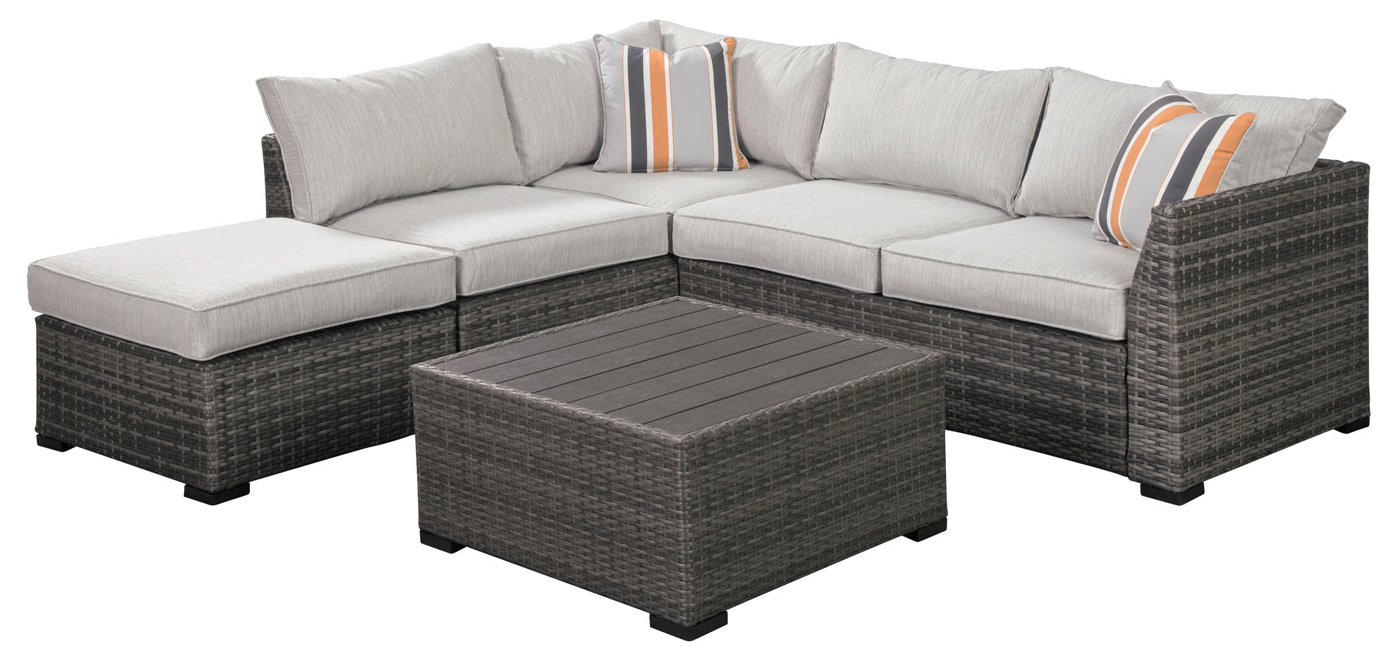 Cherry Point Outdoor 4 Piece Sectional Set w/Cushion - MJM Furniture