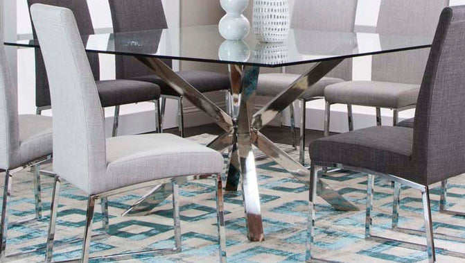 Classic Square Glass Top Dining Table - MJM Furniture