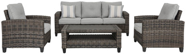 Cloverbrooke Outdoor 4 Piece Sofa Set w/Cushion - MJM Furniture