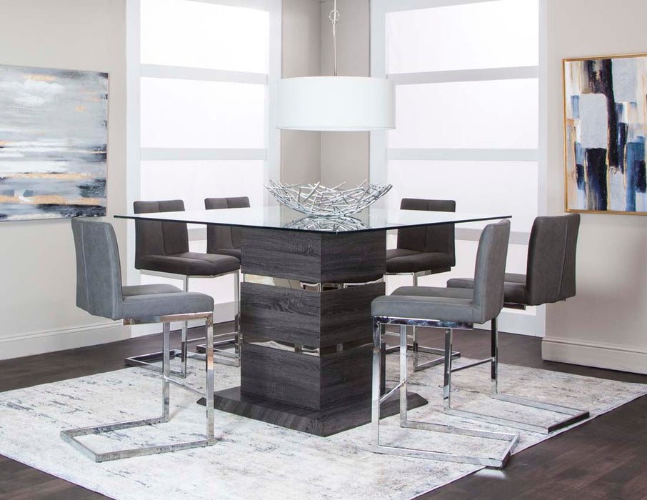 Gamma Charcoal 7 Piece Counter Height Dining Room Set - MJM Furniture
