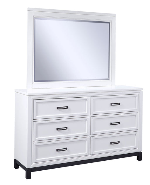 Hyde Park White Dresser & Mirror