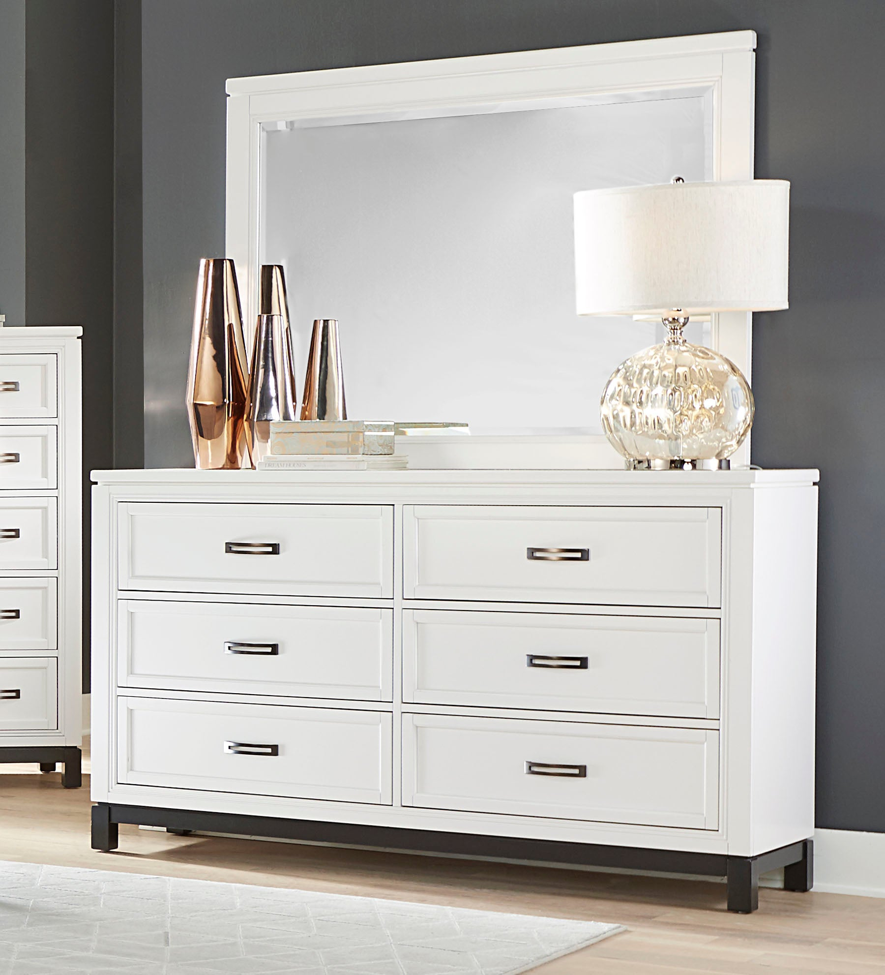 Hyde White Dresser Mirror Mjm Furniture