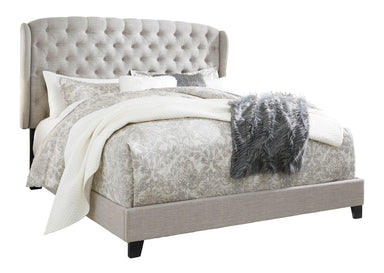 Jerary Light Gray Wing Upholstered Bed - MJM Furniture