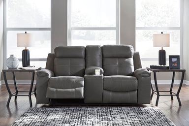 Jesolo Gray Reclining Console Loveseat - MJM Furniture