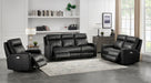 Modena Black Leather Reclining Sofa w/Power Headrest - MJM Furniture