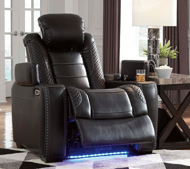 Party Time Midnight Power Recliner Chair w/Adjustable Headrest - MJM Furniture
