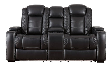 Party Time Midnight Power Reclining Console Loveseat w/Adjustable Headrest - MJM Furniture