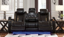 Party Time Midnight Power Reclining Sofa w/Adjustable Headrest - MJM Furniture