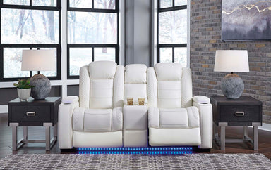 Party Time White Power Reclining Console Loveseat w/Adjustable Headrest - MJM Furniture