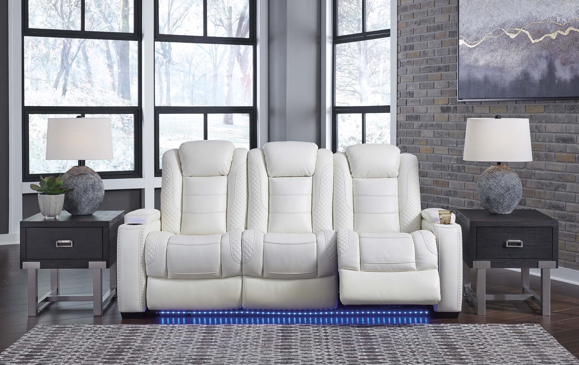 Party Time White Power Reclining Sofa w/Adjustable Headrest - MJM Furniture