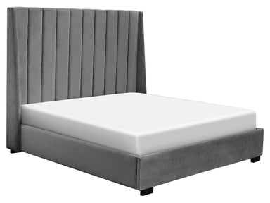 Row Gray Channel Upholstered Bed - MJM Furniture