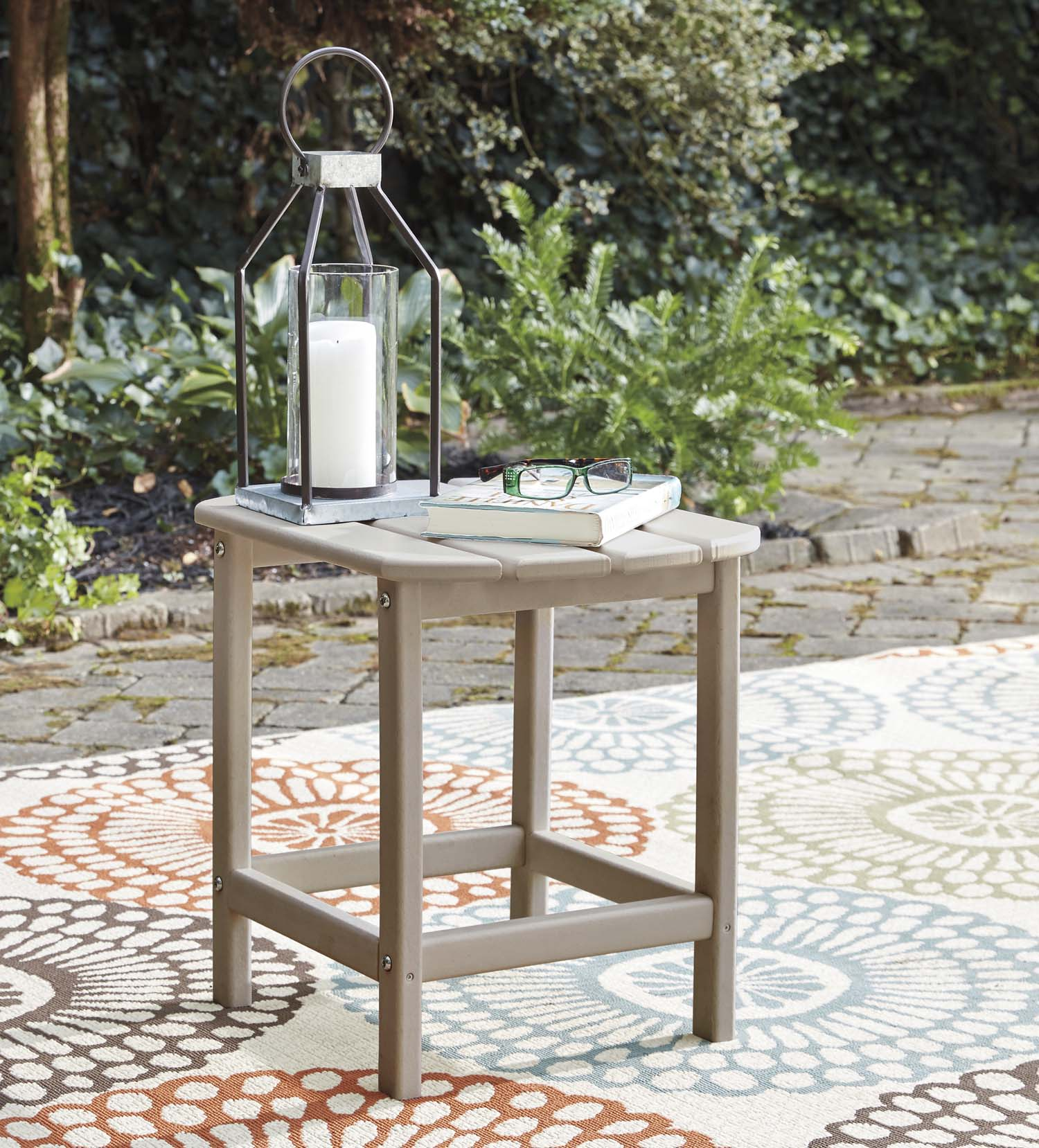 Sundown Treasure Beige Outdoor End Table - MJM Furniture