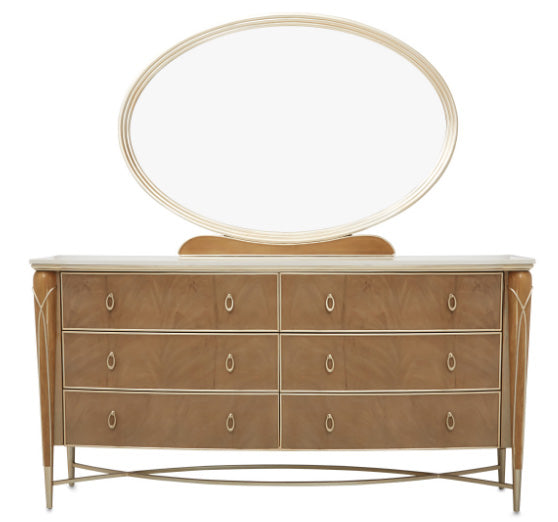 Villa Cherie Caramel 6 Drawer Dresser & Mirror - MJM Furniture