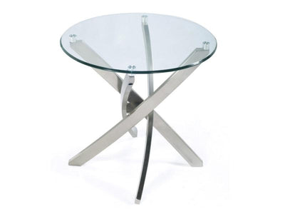 Zila End Table tempered glass disk top - MJM Furniture