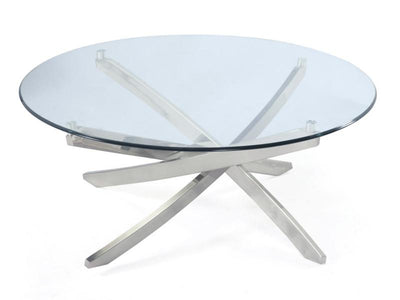 Zila Round Cocktail Table tempered glass disk top - MJM Furniture