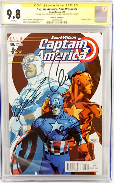 Captain America, signed CGC comic book by Chris Evans, Anthony Mackie, and Sebastian Stan