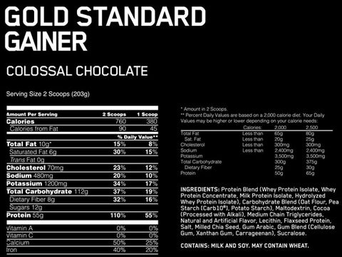 Gold Standard Gainer Nutrition