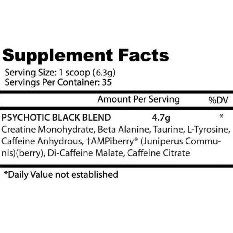 Insane Labz Psychotic Black Ingredients - Spartansuppz