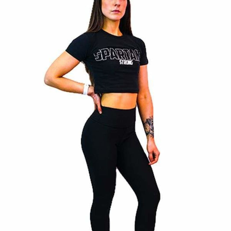 Spartans Blockout Crop Tee - Black by Spartans Apparel - Spartansuppz