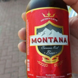A beer bottle with Montana on the logo.