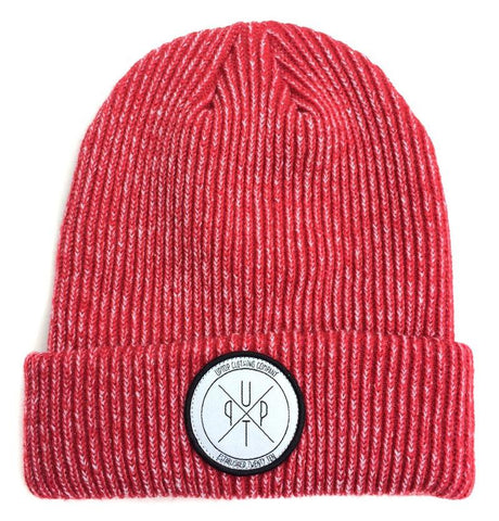 Heather red beanie with the UPTOP logo on the front.