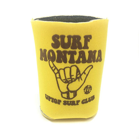 A yellow koozie that says Surf Montana in brown lettering
