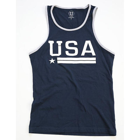 A navy blue tank top with USA in white lettering.