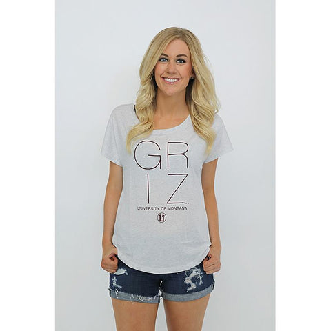 White tee with maroon lettering that says GRIZ.