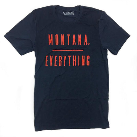 Navy blue/purple tee shirt that says Montana over Everything.