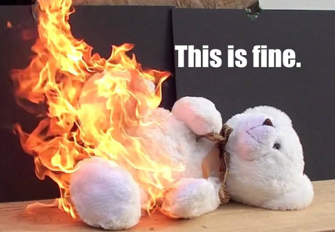 A white teddy bear on fire saying this is fine.