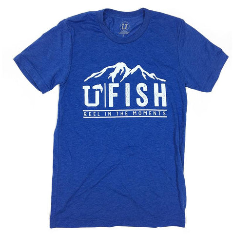 Royal blue tee shirt with the outline of a mountain in White with the UPTOP logo that says U Fish: Reel in the moments.