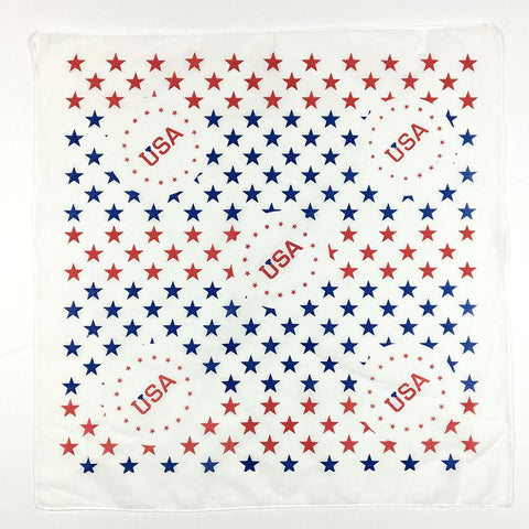 A white bandana with red and blue stars that says USA.