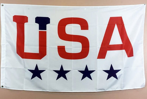 A white flag with USA in red letters and four navy blue stars