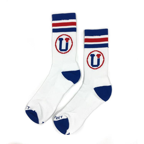 White crew socks with red and blue designs, and the UpTop logo.