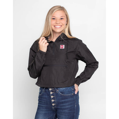 UPTOP / GRIZ SIMPLE WOMEN'S 1/2 ZIP CROP WINDBREAKER
